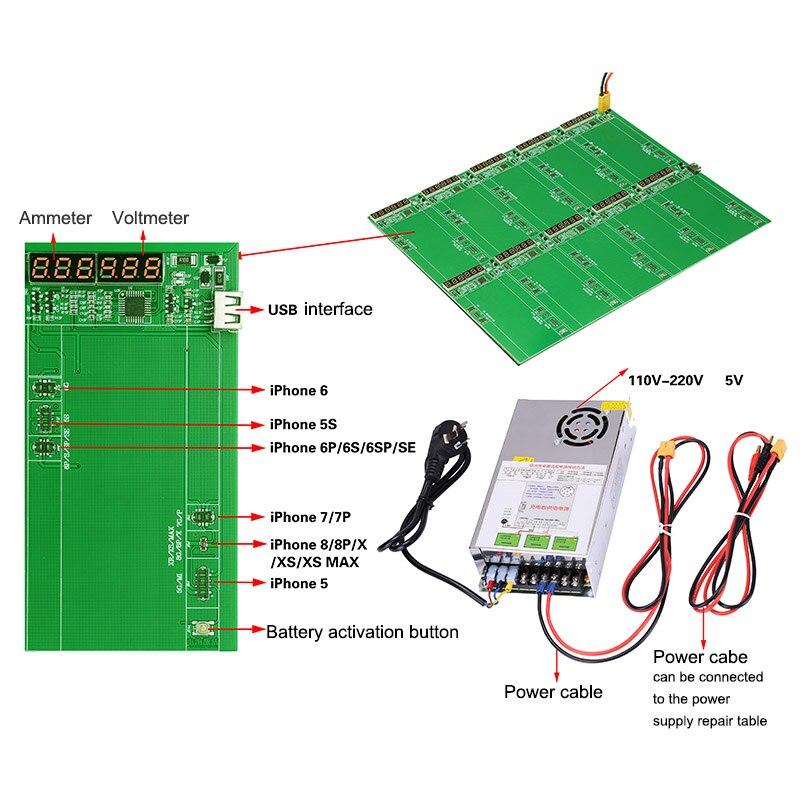 Alimentation rapide de plaque d'activation de chargeur de batterie pour iPhone XS Max/XSR/XR/X/8 P/8/7 P/7/6 P/6/5C/5