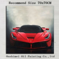 China Master Artist Hand painted Realist Super Master Oil Painting On Canvas Super Speed Red Thunder Car Oil Painting For Decor