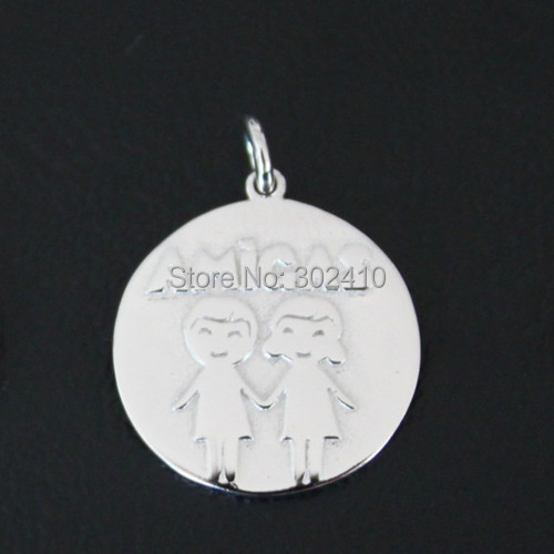 Free shipping 925 sterling silver friend message pendant Spanish amigo message charms DIY charms with lobster clasp wholesale