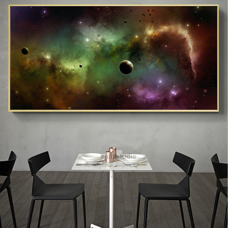Wall Painting Posters and Prints Wall Art Canvas Painting Cosmic Starry Sky Pictures for Living Room Cuadros Home Decor No Frame in Painting Calligraphy from Home Garden