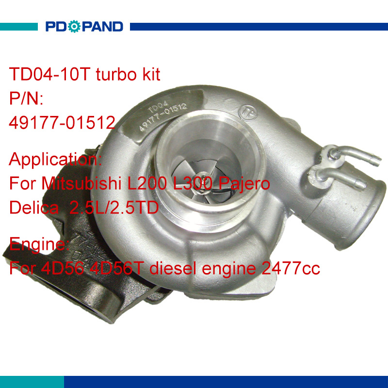US $116 42 14% OFF|water cooling engine turbo kit part TD04 turbolader for  Mitsubishi L200 L300 Pajero Shogun Delica 2 5L 4D56 diesel engine 2477cc-in