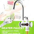 Electric Hot Faucet Water Heater Electric Tankless Water Heating Kitchen Faucet Digital Display Instant Water Tap 3000 W