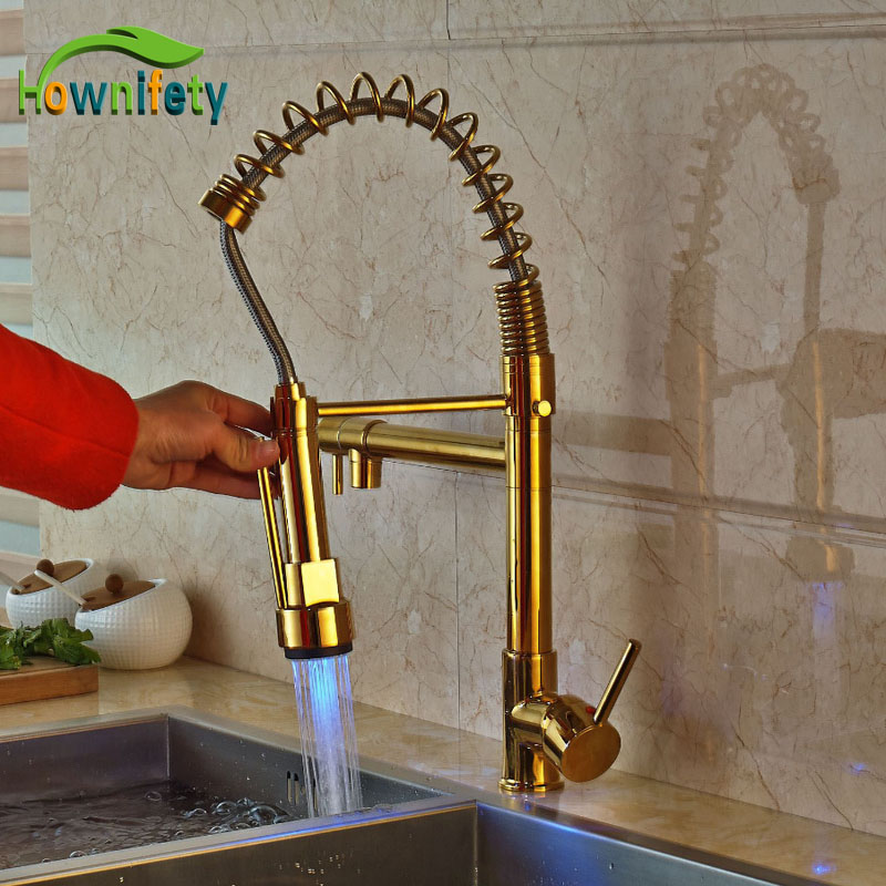 Современные 3 цвета Свет Кухня Весна кран бортике Pull Подпушка опрыскиватель золото