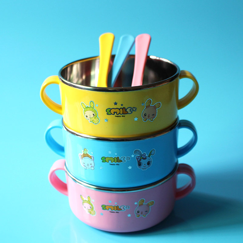 Baby Bowl With Lid Stainless Steel Double Layer Handle Baby Cute Cartoon Printed Bowl Yjs Dropship