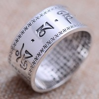 Handcrafted 999 Silver Tibetan OM Mani Padme Hum Ring Tibetan Six Words Proverb Ring Buddhist OM