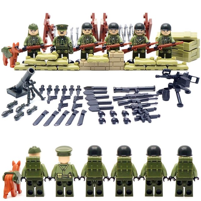 6pcs US Army World War 2 Military Soldier SWAT Marine Corps Weapon Gun Building Blocks Bricks Boy Educational Toy Gift Children