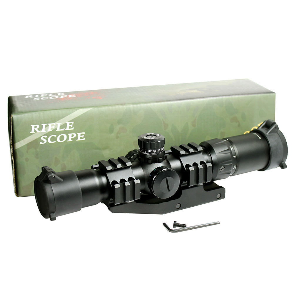 1set 1.5-4X30 Tactical Rifle Scope w/ Tri-Illuminated Chevron Recticle & PEPR Mount for Airsoft Gun Hunting Free Shipping tactical 4x32 rifle scope w tri illuminated chevron reticle fiber optic sight scope rifle airsoft gun hunting airsoft
