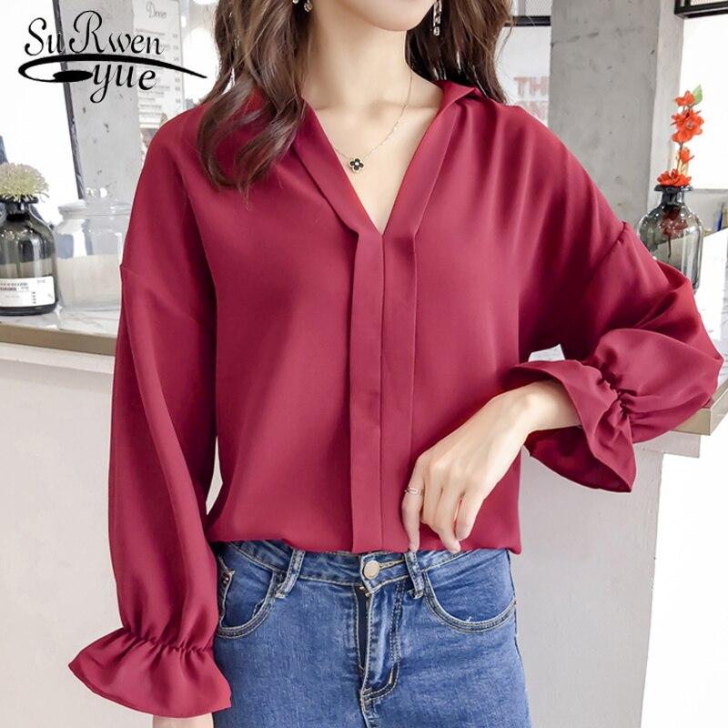 841c017df10 Новая осень плюс размеры 3XL 4XL для женщин блузка рубашка Мода женские  блузки 2019 с длинным