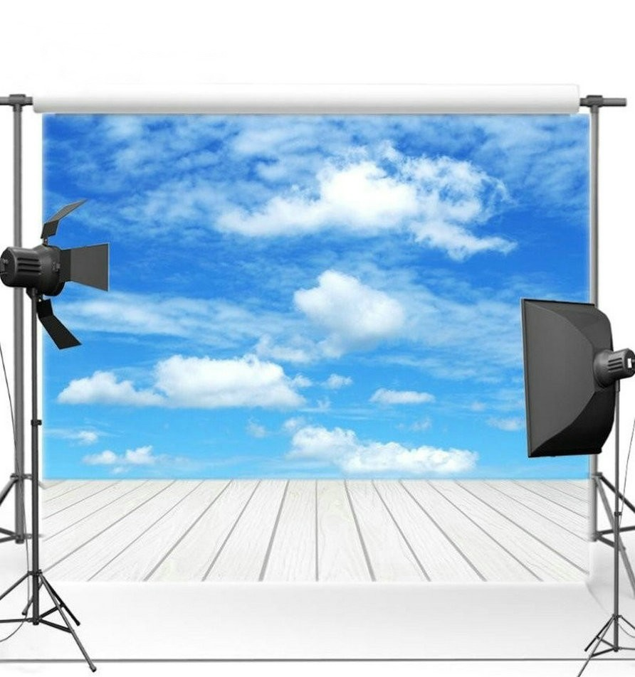 Blue Sky White Clouds White Wood Floor photo backdrop Vinyl cloth High quality Computer Print wall Scenery Backgrounds