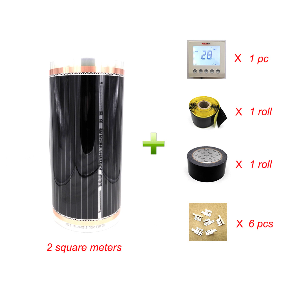 2 Square Meters Infrared Heating Film 50cm 4m With Accessories Clamps clips and Insulating Daub and