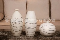 Clearance product] home accessories ornaments European creative ceramic flower vases plated plug striped three piece