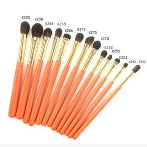 Image 2 - Professionele Handgemaakte Make Up Kwasten Kit Zachte Blauwe Eekhoorn Geitenhaar Oogschaduw Blending Brush Oranje Handvat Make Up Brush Set