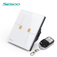 SESOO EU UK Standard Remote Control Switches 2 Gang 1 Way Crystal Glass Switch Panel Remote