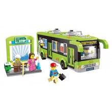 Enlighten 1121 Building Blocks City Buses model kit Bricks Car parking toy bus station Educational Toys for Children Gift недорого