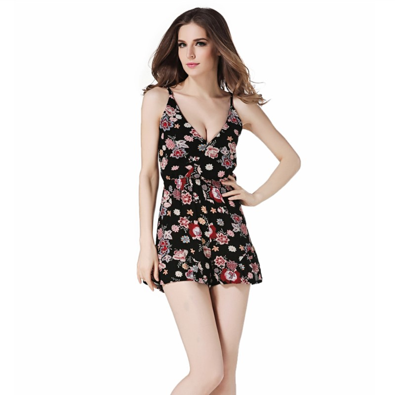 plus size summer rompers 2018 sexy beach playsuit black v-neck overalls women tunic one piece shorts floral women romper 81012G