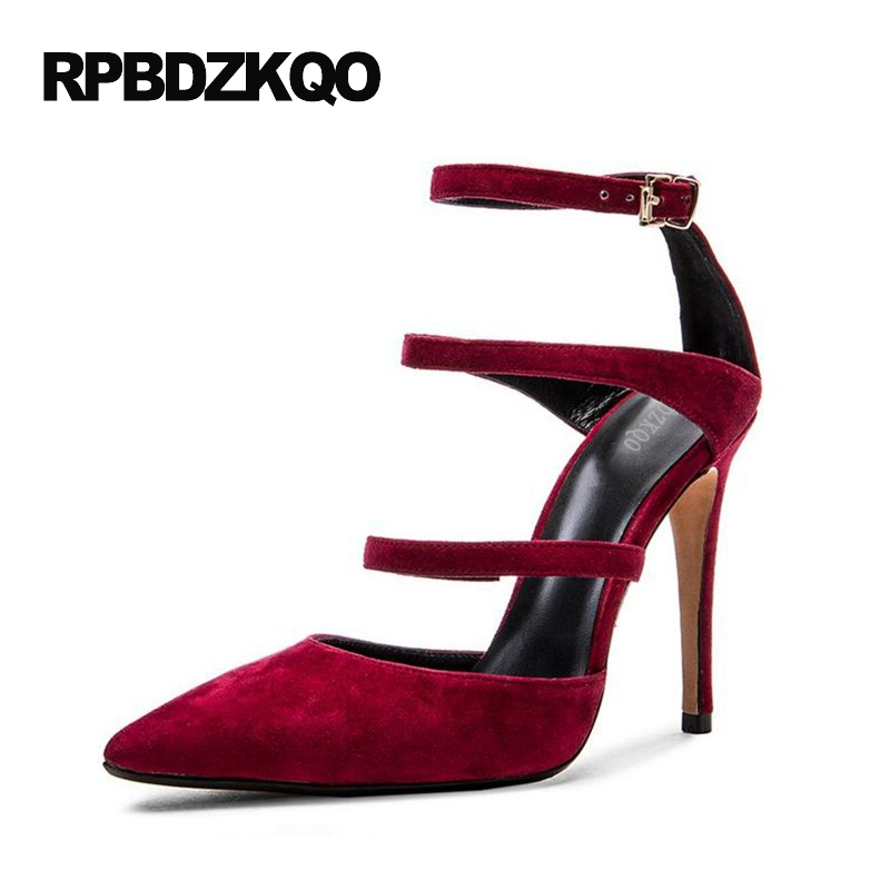 Shoes Wine Red Pumps High Heels Thin Pointed Toe Women Ankle Strap 4 34 Small Size Extreme Closed 2017 Novelty Strappy Funky 2017 high heels ankle strap pointed toe thin zipper plus size ultra wine red unique pumps green shoes for women 9 40 sexy