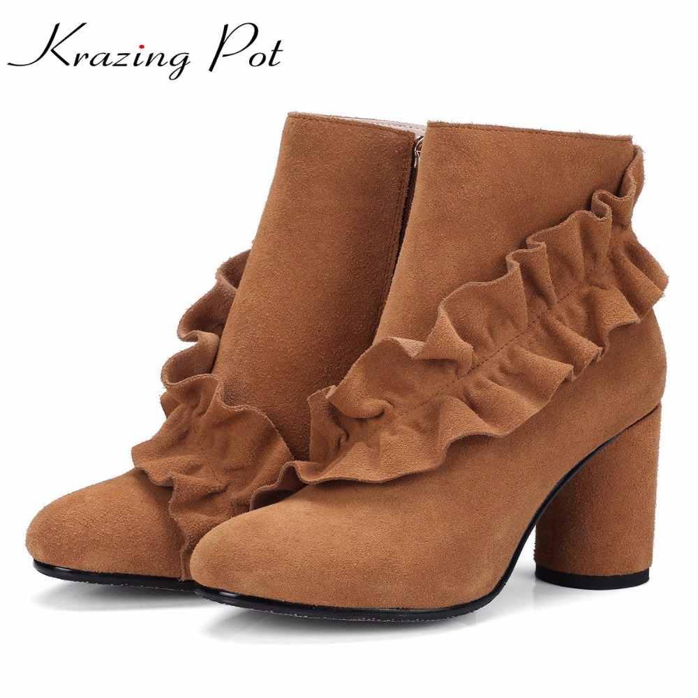 Krazing Pot cow suede fashion winter boots thick high heel superstar young lady lacework flowers sweet riding ankle boots L62 krazing pot big szie cow suede slip on thick heel tassel bowtie winter pointed toe fashion superstar runway ankle boots l5f1