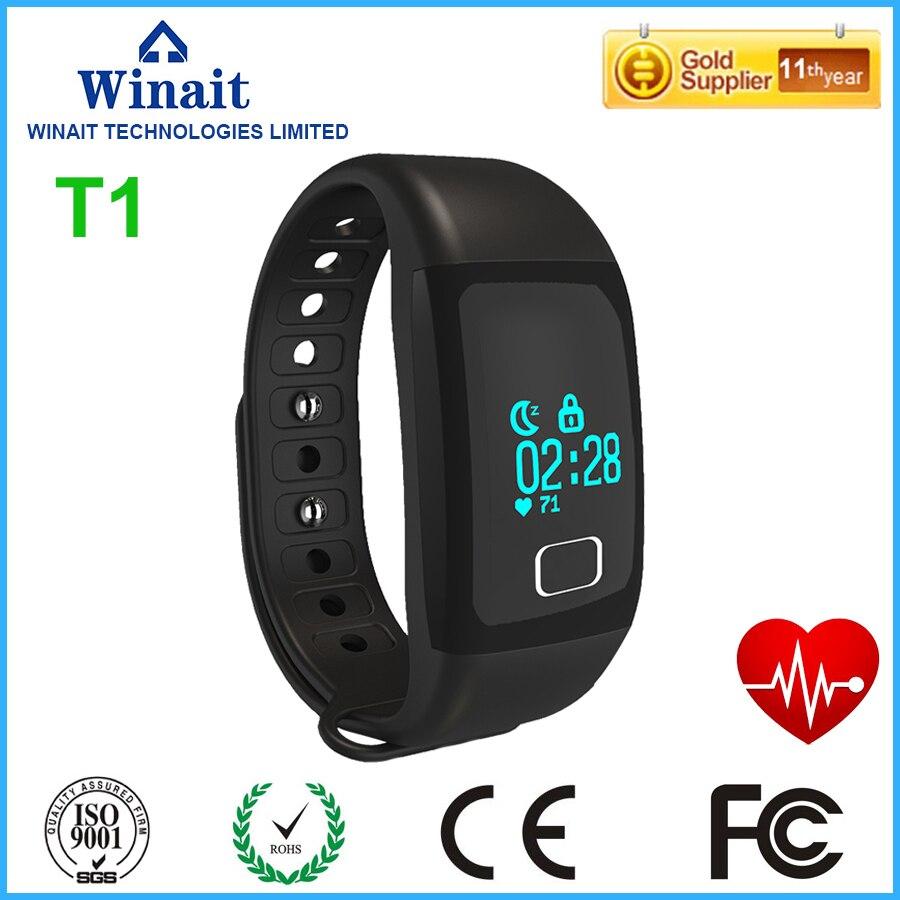 Winait bracelet intelligent T1 étanche avec suivi de la fréquence cardiaque gestion du sommeil longue veille