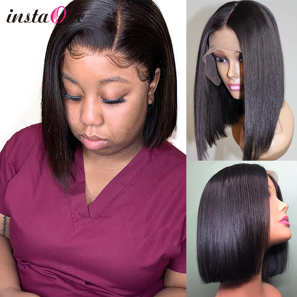 Instaone 13*6 Lace Front Human Hair Wigs Straight Full Brazilian Virgin Bob Short Frontal Wigs For Black Women 4x4 closure wig(China)