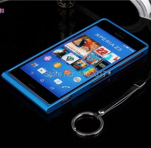 imágenes para Z3 caso de Parachoques Protector de Parachoques de aluminio de Lujo de lujo Ultra Delgada del Caso Del capítulo Para Sony Xperia Z3 D6653 D6633 Con Menor paquete