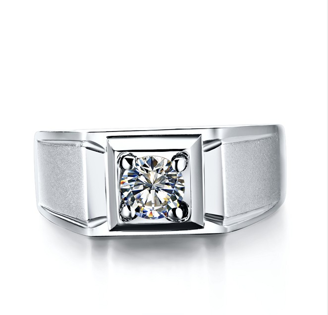 Classic 1Ct Round Cut Male Men Ring Solid 14K 585 White Gold Wedding