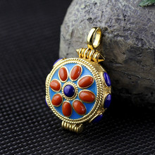 S925 Gold Plated Sterling Silver Jewelry Fashion Unisex South Red Box Pendant gawu free shipping