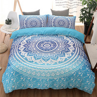 iDouillet New Blue Lotus Flowers Mandala Bedding Bohemia Exotic Duvet Cover with Pillowcases 2 or 3pcs Set Twin Queen King Size