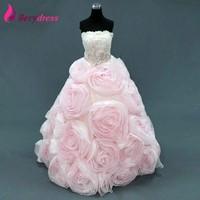 人気のピンクリトルガールパーティードレスクリスタルウエストバンドリアル写真大きな花オーガンザ夜会服quinceaneraのドレス