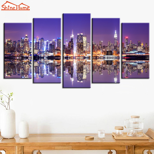 ShineHome 5pcs Mur Art Impressions Sur Toile New York City Manhattan ...
