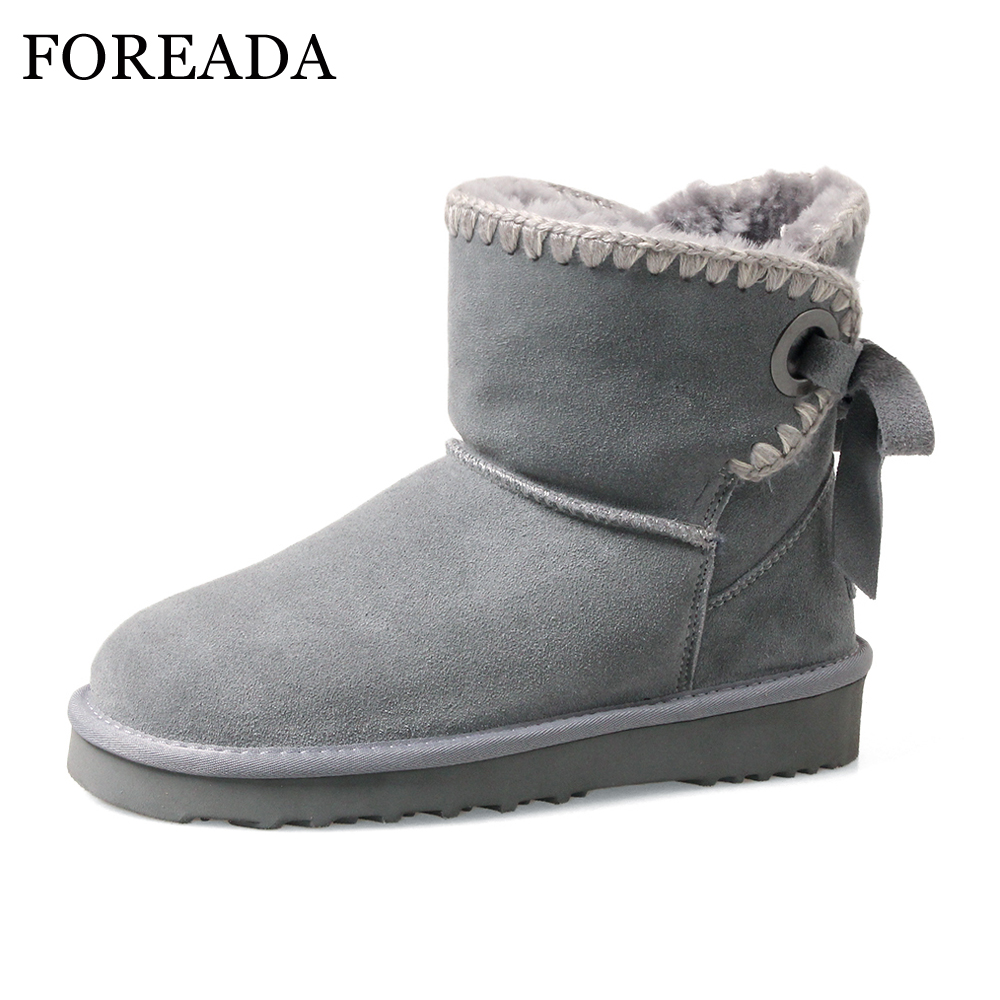 FOREADA Natural Leather Winter Snow Boots Women Platform Wedges Ankle Boots Warm Plush Boots Low Heel Shoes Lace UP Sewing Shoes