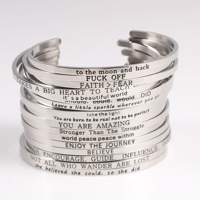 2018 Hottest Quotes Mantra Bracelets 316l Stainless Steel Open Cuff Bangle Fashion Women Female Inspirational Jewelry Bracelet Available In Various Designs And Specifications For Your Selection Jewelry & Accessories
