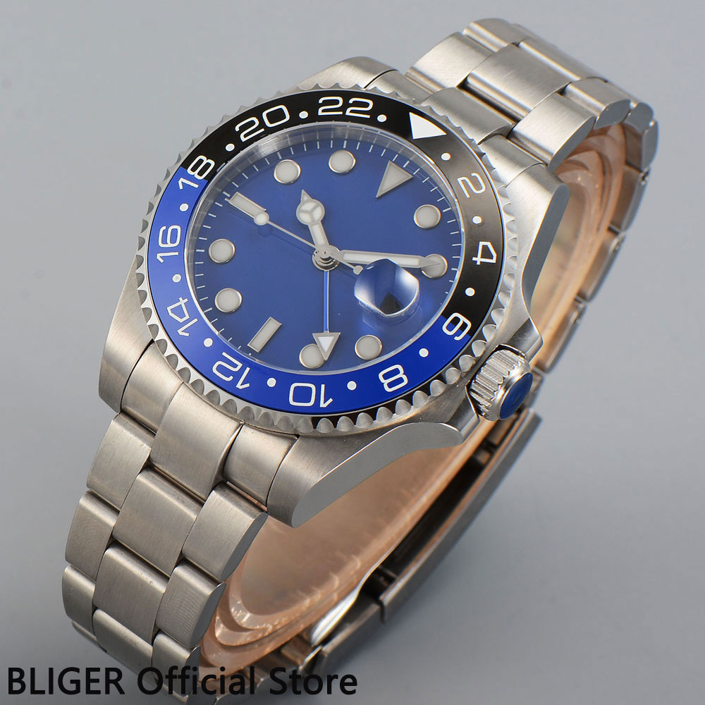 Solid 40MM BLIGER Blue Sterile Dial Black Blue Ceramic Bezel Luminous Marks GMT Function Automatic Movement Men's Watch B351 solid bliger 40mm white sterile dial blue ceramic bezel gmt function luminous hand date clcok automatic movement men s watch b51