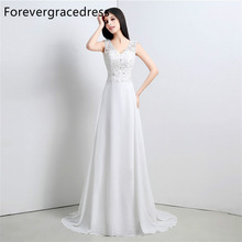 Forevergracedress High Quality Wedding Dress V Neck Applique Chiffon With Cowl Back Long Bridal Gown Plus Size Custom Made