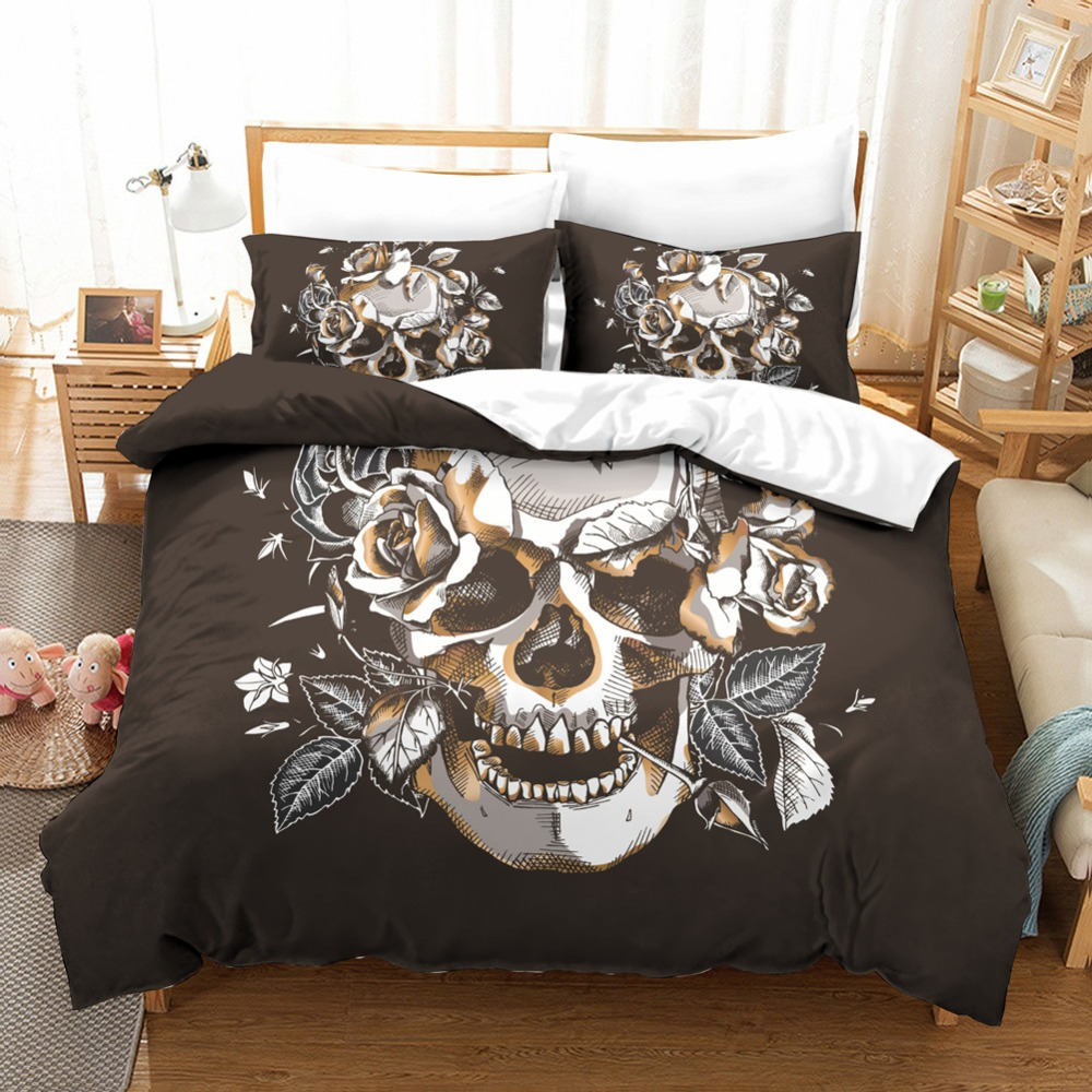 3 Pieces Bedding Set Twin/Queen/King Size Rose Skull Graphic Duvet Cover Pillowcase Unfading Stain Resistant Machine Washable3 Pieces Bedding Set Twin/Queen/King Size Rose Skull Graphic Duvet Cover Pillowcase Unfading Stain Resistant Machine Washable