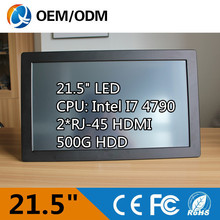 21.5 Inch CPU I7 4790 3.6GHz touch screen Resolution 1920X1080 computer desktops with 500G HDD 2GB RAM all in one pc(China (Mainland))
