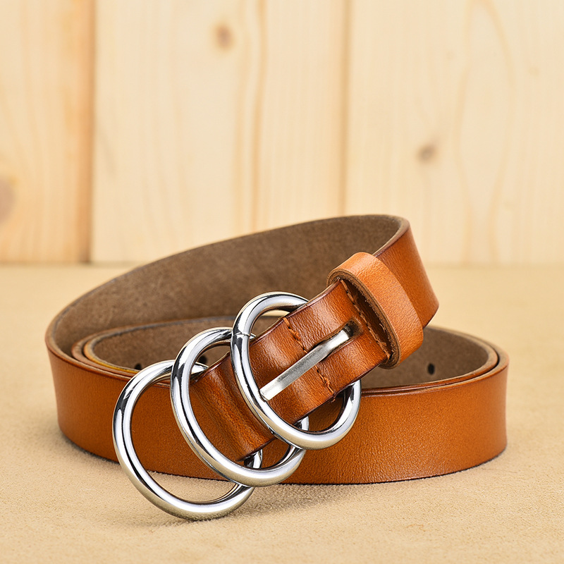 Geniune Leather Belts for Women Men Fashion three ring personalized pin buckle jeans belt in Men 39 s Belts from Apparel Accessories