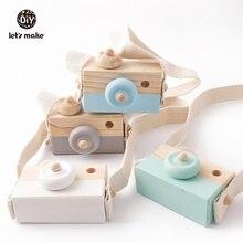 Давайте сделаем 1 шт. Деревянные Игрушки для маленьких детей Модный кулон в виде камеры Монтессори игрушки для детей деревянные поделки Подарки для кормления и рисунком оленя, подарок блок