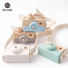 בואו לעשות 1pc עץ תינוק צעצועי אופנה מצלמה תליון מונטסורי צעצועים לילדים מעץ DIY מציג סיעוד מתנה תינוק בלוק