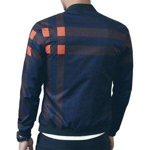 Image 5 - VISADA JAUNA 2020 Neue Ankunft männer Jacken Patchwork Casual Marke Kleidung Stehen Kragen Langarm Männlichen Outwear 5XL Plaid mantel