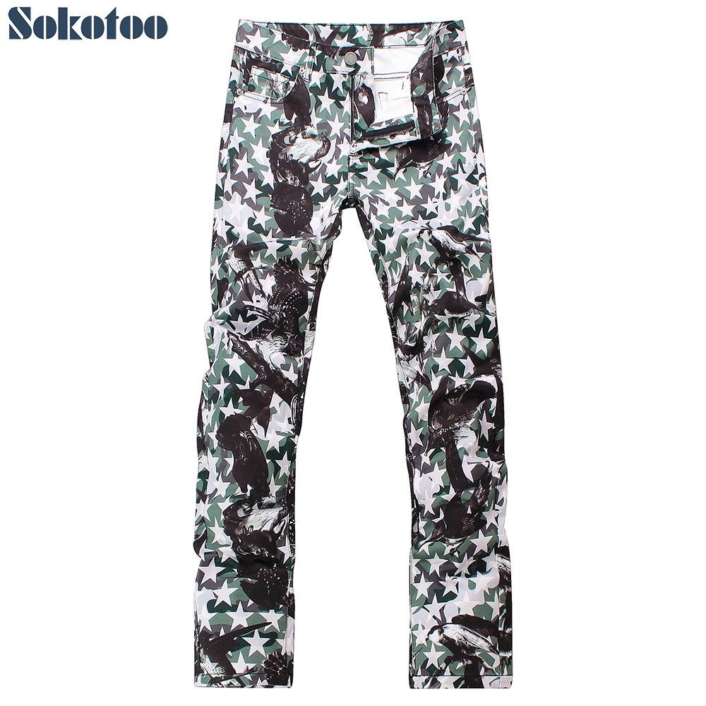 Sokotoo Men's Fashion Stars Eagle Printed Jeans Slim Fit Straight Lightweight Colored 3D Print Denim Pants