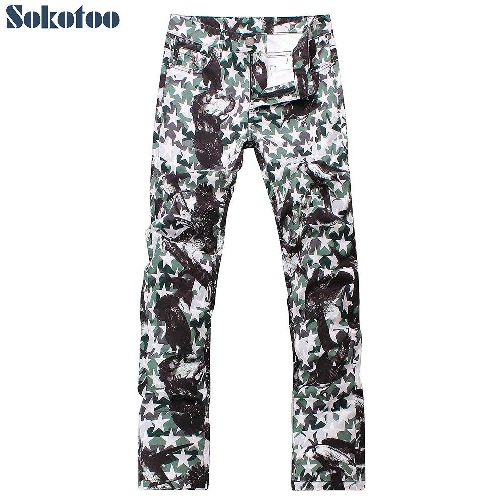 Sokotoo herenmode sterren eagle gedrukt jeans Slim fit straight lichtgewicht gekleurde 3D print denim broek-in Spijkerbroek van Mannenkleding op AliExpress - 11.11_Dubbel 11Vrijgezellendag 1