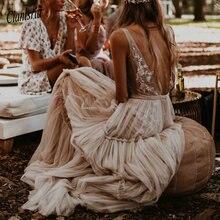عارية الشمبانيا فساتين الزفاف 2020 العميق الخامس الرقبة بوهيميا العميق الخامس الرقبة غريب الأطوار بوهو حالمة زي العرائس الشاطئ Vestido De Noiva