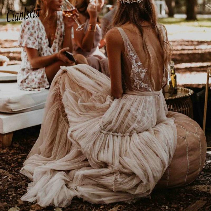 Nude Champagne Wedding Dresses 2020 Deep V-Neck Bohemia Deep V-Neck Whimsical Boho Dreamy Bridal Gowns Beach Vestido De Noiva