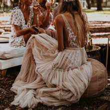 Nude suknie ślubne w kolorze szampańskim 2020 głęboki dekolt w serek czechy głęboki dekolt kapryśny Boho marzycielski suknie ślubne plaża Vestido De Noiva