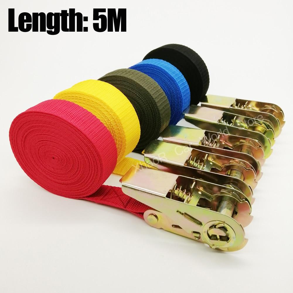 2 pièces 5 mètres ceintures de tension sangles de cargaison réglables pour voiture moto vélo cliquet ceinture darrimage pour sac à bagages