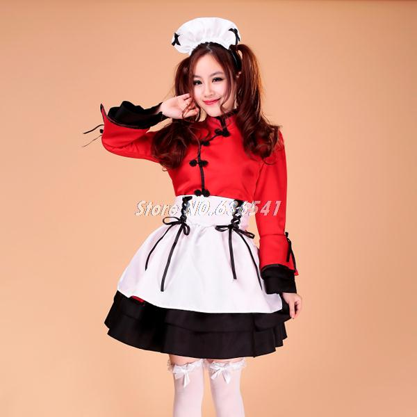 New! Chinese Style Dancing Girls Lolita Maid Outfit Cosplay Ladies Costumes Restaurant Uniforms