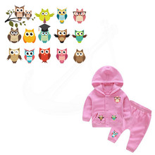 14 pattern/comb Cartoon Cute small owl Children stickers iron on patches DIY baby patch on clothes jacket thermal transfer