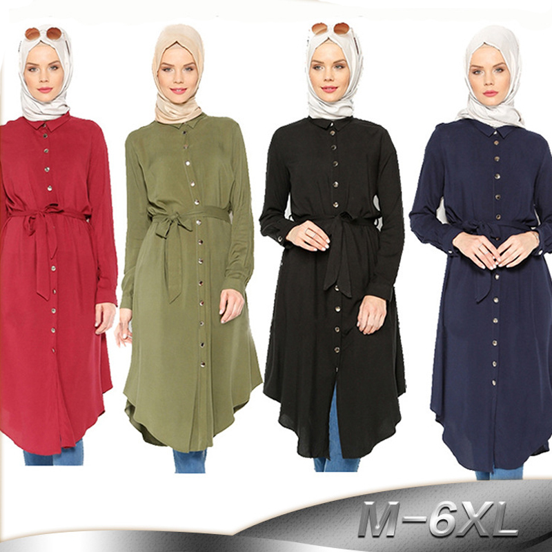 Vestidos 2018 UAE Abaya Dubai Kaftan Bandage Muslim Shirt Hijab Dress Robe Musulmane Longue Arabic Turkish Islamic Clothing