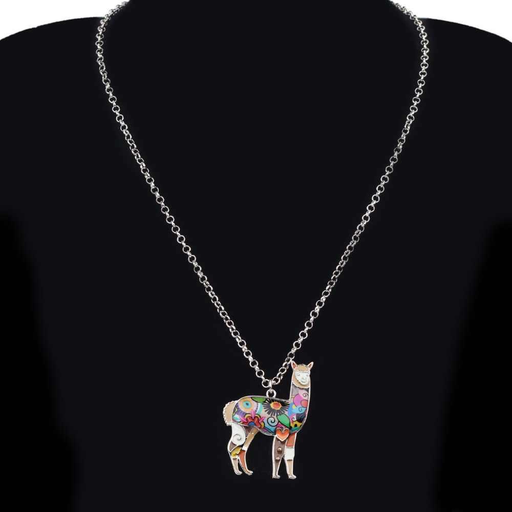 Bonsny Men Hợp Kim Nam Mỹ Alpaca Bông Tai Drop Dangle Chuỗi Vòng Cổ Mặt Dây Chuyền Bộ Đồ Trang Sức Động Vật Dễ Thương Bijoux Quà Tặng Femme