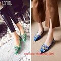 Мода в Китайском Стиле Crystal Шипованных Плоские Туфли Женские Балетки Кожа Острым Носом Балетки Женщины Мокасины Chaussure Femme